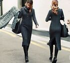 4 Colors Women's Fall Winter Warm Knit Maxi Long Dresses Cowl Neck Jumper Tops