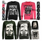 Womens Ladies Normal People Scare Me Print Pullover Sweatshirt Jumper Top 8-14