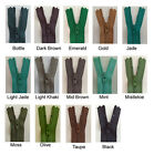 YKK Nylon Closed End Zips - Skirt/Trousers - Greens/Browns - 13 lengths