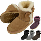 Childrens / Kids / Girls Full Sheepskin Boots with Bow Design & Reinforced Heel