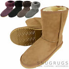 Ladies /Womens Genuine Sheepskin Boots Calf Height-Chestnut Grey Purple and more