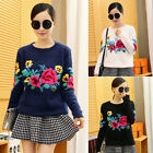 New Beautiful Peony Pattern Women Imitated Mohair Pullover Knitting Sweater Tops
