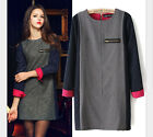 Hot Sell Women Winter Long Sleeve Pencil OL Mini Dress Base Skirt