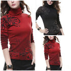 Flower Crystal Turtleneck Knit Casual Long Sleeve Pullover Outwear Top Sweater