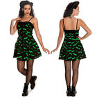 Hell Bunny Bat Mini Dress Green and Black Gothic Halloween