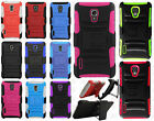 LG Optimus F7 US780 HYBRID COMBO KICK STAND Rubber Case Cover +Screen Protector