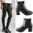 WOMENS LADIES CHELSEA CHUNKY BLOCK HIGH HEEL PLATFORM ANKLE BOOTS SHOES SIZE
