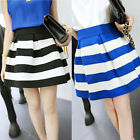HOT Sexy Mini Dress Casual Skirts Vintage New Flared Striped Skirt Teadress K