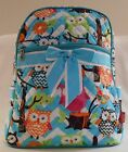 Quilted BACKPACK Purse MULTI COLOR OWL PATTERN Backpack Purse PINK or BLUE Trim