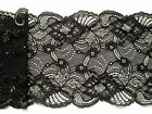"NEW~Black/Gold Vintage Stretch Scalloped Lace 6""/15cm Lingerie/Costume"