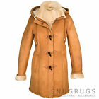 Ladies / Womens Full Genuine Sheepskin Duffle Coat with toggle buttons - Tan