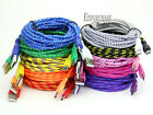 1 2 3M Braided Fabric Micro USB Data Sync Charger Cable Cord For Cell Phone