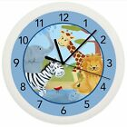 SAFARI JUNGLE WALL CLOCK GIFT WALL DECOR NURSERY BABY BOY SHOWER BLUE ZOO ANIMAL