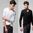 Men's V-Neck Plain Color Long Sleeves Undershirt Casual Primer Shirts Tee Simple