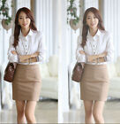LATEST STYLE Women OL Shirt Long Sleeve Collar Blouse Button Tops 2 Colors CA WB