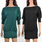 Sexy Womens Loose Batwing Dolman Sleeve Zip Casual Party Mini Dress Tops LX