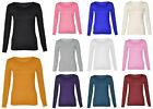 Womens Long Sleeve Scoop Neck Top Basic T Shirt Casual Blouse US Plus Size 6-28