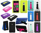 For Nokia Lumia 521 Impact Hard Rubber Case Cover Kick Stand +Screen Protector
