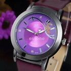 Stylish Stainless Steel Butterfly Dial Leather Band Quartz Analog Womens Watch