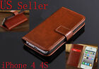 Luxury Genuine Real Leather Flip Case Wallet Cover For Apple Iphone 6 5S 4 4S 5C
