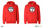 Thing 1 and Thing 2 Red Dr Suess Cat In A Hat Fancy Dress Twins Hoodie - Red