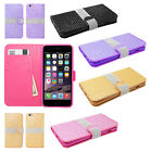 For Apple iPhone 6 6S Plus Premium Bling Wallet Case Pouch Cover + Screen Guard