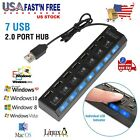 7-Port USB 2.0 Multi Charger Hub +High Speed Adapter ON OFF Switch Laptop PC