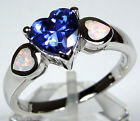 7mm Heart Tanzanite & White Fire Opal Inlay 925 Sterling Silver Ring Size 7,8,9