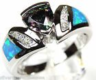 Trillion Rainbow Topaz & Blue Fire Opal Inlay 925 Sterling Silver Ring Size 7
