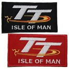 """TT Isle of Man Patch Embroidered Badge Iron Sew On 4"""" x 2"""" Red or Black styles"""