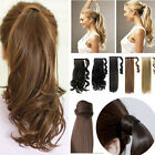 Long blonde/straight/curly Wrap Around pony tail clip in ponytail hair extension