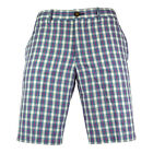 Mens Original Penguin Hob Plaid Aegean Blue Slim Fit Shorts