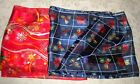 Christmas Scarves Blue w Holly Berries & Red w Bulbs & Green Polyester unbranded