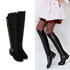 WOMENS LADIES LOW HEEL HIGH OVER KNEE STRETCH ZIP PULL WINTER BLACK BOOTS SHOES