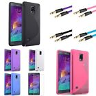 Ultra Thin TPU S Shape Case+3.3ft Auxiliary cable+SP For Samsung Galaxy Note 4