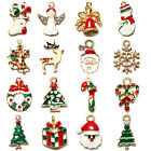Gold Enamel Christmas Xmas Gifts Snowflake Charm Pendants Jewelry Findings
