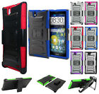 ZTE Grand X Max Combo Holster HYBRID KICK STAND Hard Rubber Case +Screen Guard