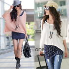 2014New Fall Women Polka dots Tank Vest + Batwing sleeve Tops Cover Up 2 PCS Set