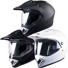 Tuzo 370 Plain Dual Sport Mx Enduro Motocross Adventure Crash Helmet with Visor