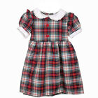Girls Red Check Tartan Dress, Button Top