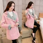 Women's Winter Pink Lapel Zip Long Sleeve Faux Fur Fleece Suede Coat Outerwear