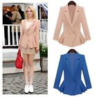 Women's Slim Lapel Peplum Frill Long Sleeve Button Blazer Coat Jacket Outerwear