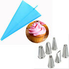 Silicone Reusable Piping Bag 6 Icing Nozzle Fondant Cake Decorating Pastry Tool