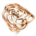 Charming Rose Gold Hollow Camellia Stainless Steel Fashion Ring Size 5 6 7 8 9