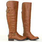 Trendy Stylish Bronze Buckle Accent Over Knee High Equestrian Rider Boots Tan