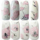 3D Embossed Pink Flowers Design Nail Art Decal Tips Stickers Sheet Manicure New