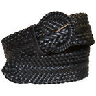 PLUS SIZE BLACK BRAIDED WOVEN STRETCH BELT size L