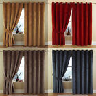 Velour Eyelet Ring Top Ready Made Curtains With Textured Soft Touch Finish