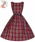Lindy Bop 50's Audrey Vintage Style Tartan Plaid Dress Red
