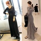 Women's Casual Round Neck Long Sleeve Slim Maxi Long Dress Spring Fall TTDT